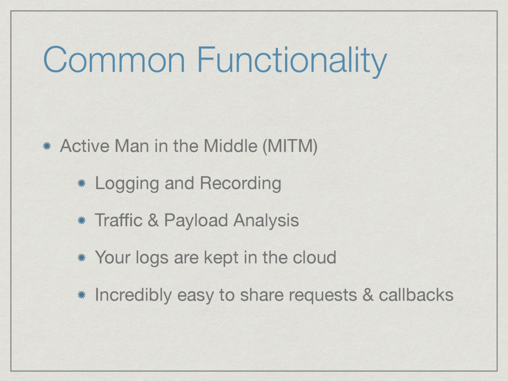 Common Functionality Active Man in the Middle (...