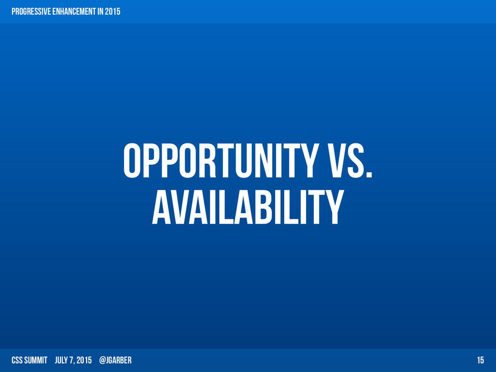 CSS Summit July 7, 2015 @jgarber Opportunity vs...