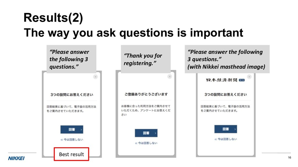 16 The way you ask questions is important Resul...