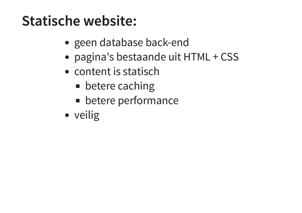 Statische website: Statische website: geen data...