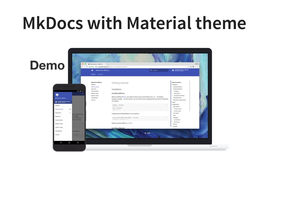 MkDocs with Material theme MkDocs with Material...