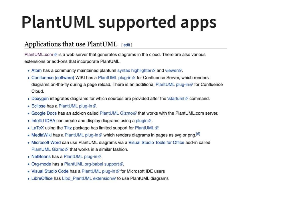 PlantUML supported apps PlantUML supported apps