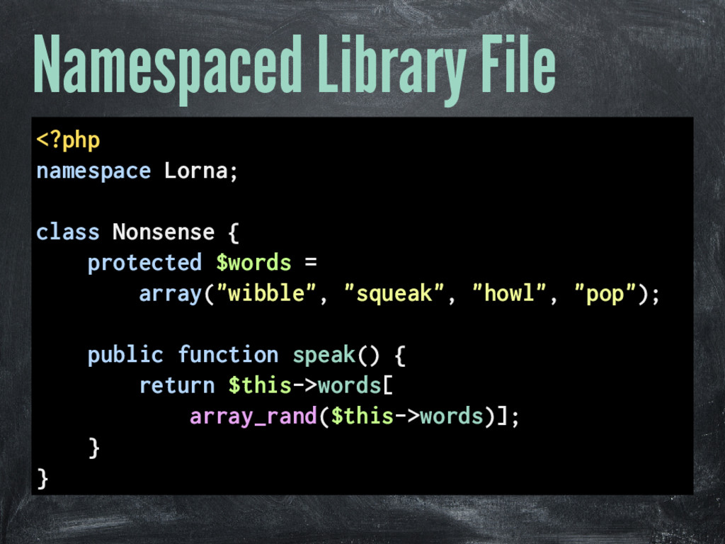 Namespaced Library File <?php namespace Lorna; ...