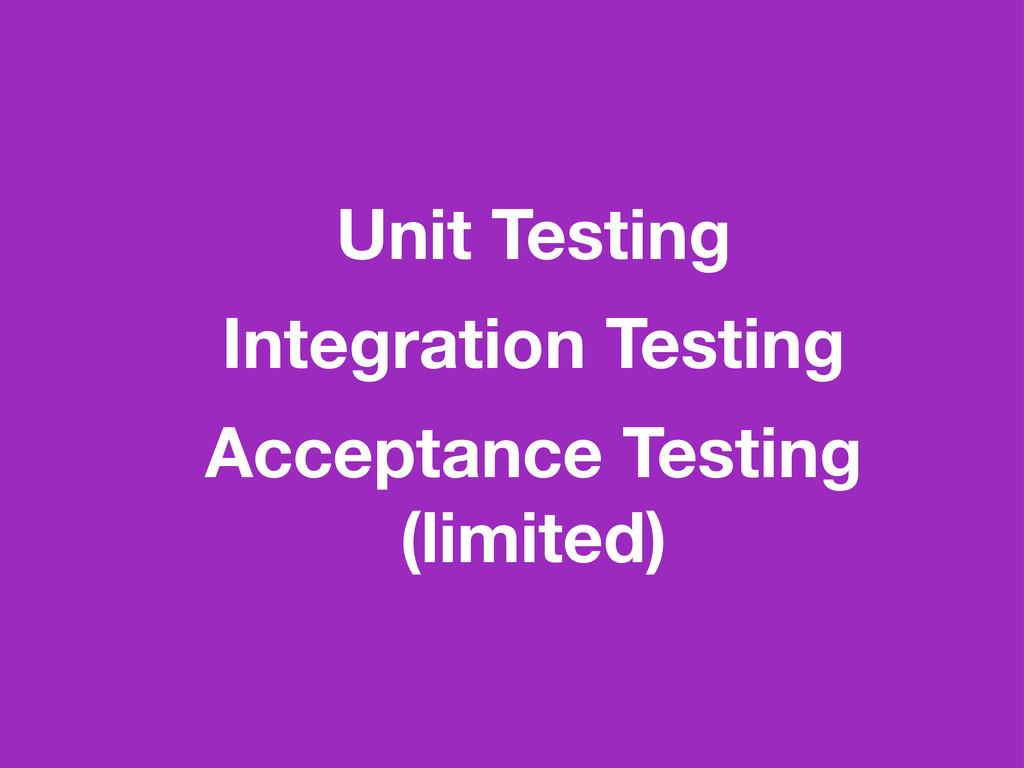 Unit Testing Integration Testing Acceptance Tes...