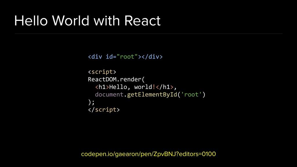 Hello World with React codepen.io/gaearon/pen/Z...