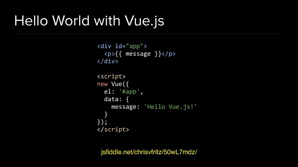 Hello World with Vue.js jsfiddle.net/chrisvfritz...
