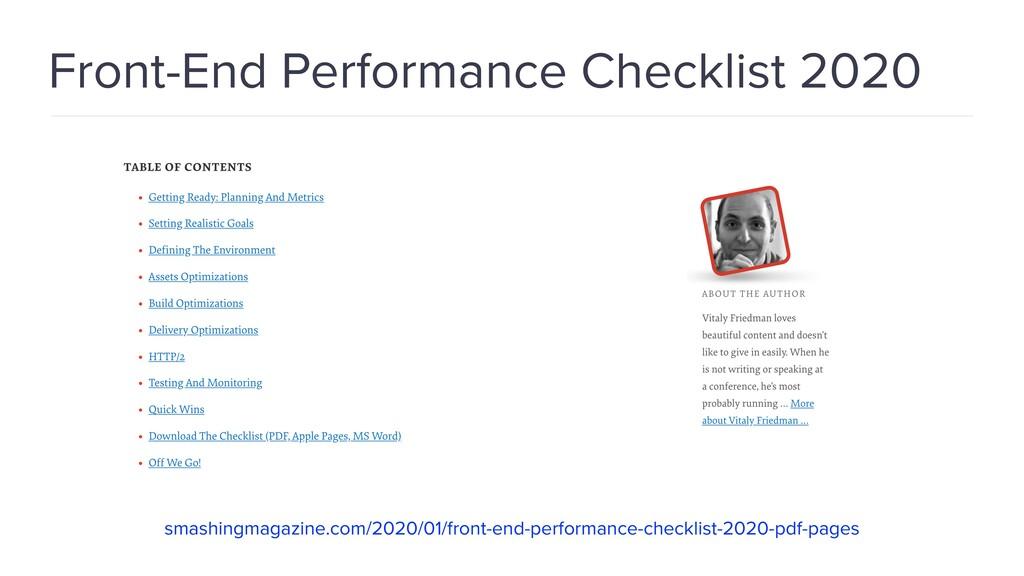 Front-End Performance Checklist 2020 smashingma...