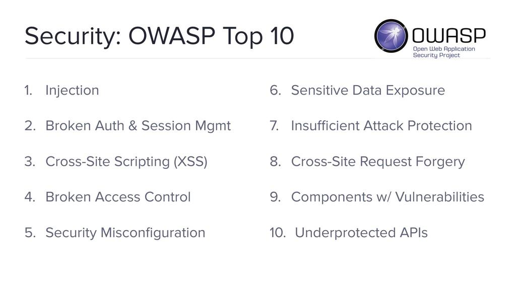 Security: OWASP Top 10 1. Injection 2. Broken A...