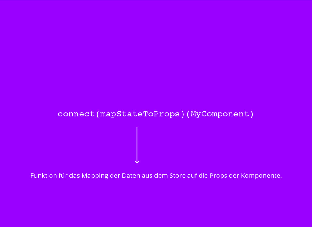 connect(mapStateToProps)(MyComponent) Funktion ...