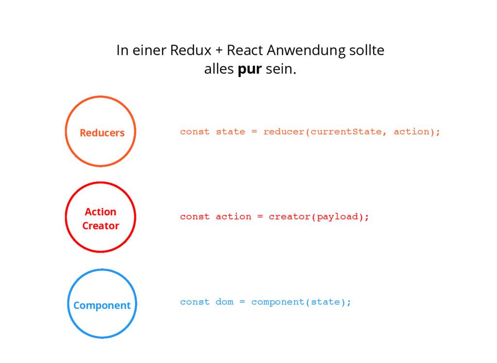 In einer Redux + React Anwendung sollte alles p...