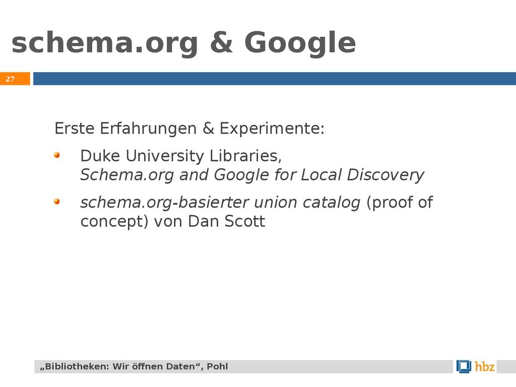 schema.org & Google 27 Erste Erfahrungen & Expe...