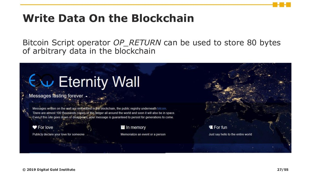 Write Data On the Blockchain © 2019 Digital Gol...