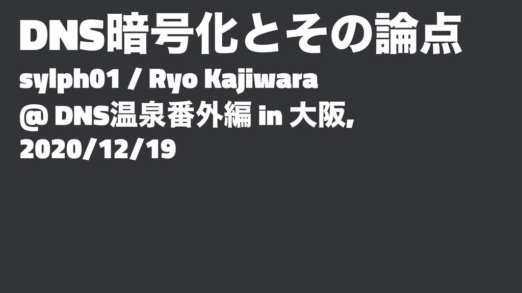 DNS҉߸Խͱͦͷ sylph01 / Ryo Kajiwara @ DNSԹઘ൪֎ฤ i...
