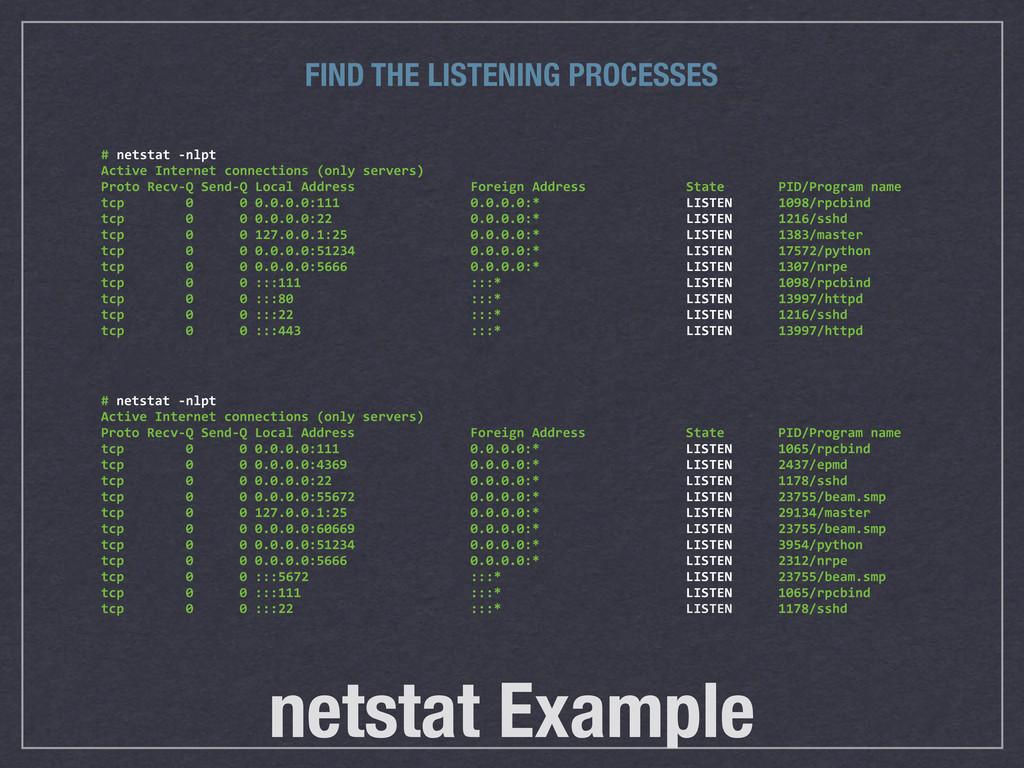 netstat Example # netstat -‐nlpt Active...