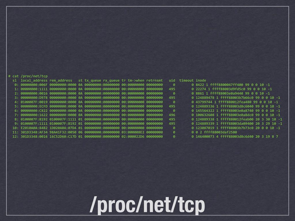 /proc/net/tcp # cat /proc/net/tcp   ...