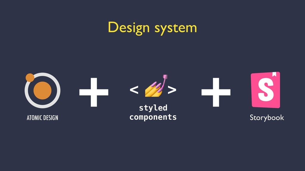 Design system < > styled components + + ATOMIC ...