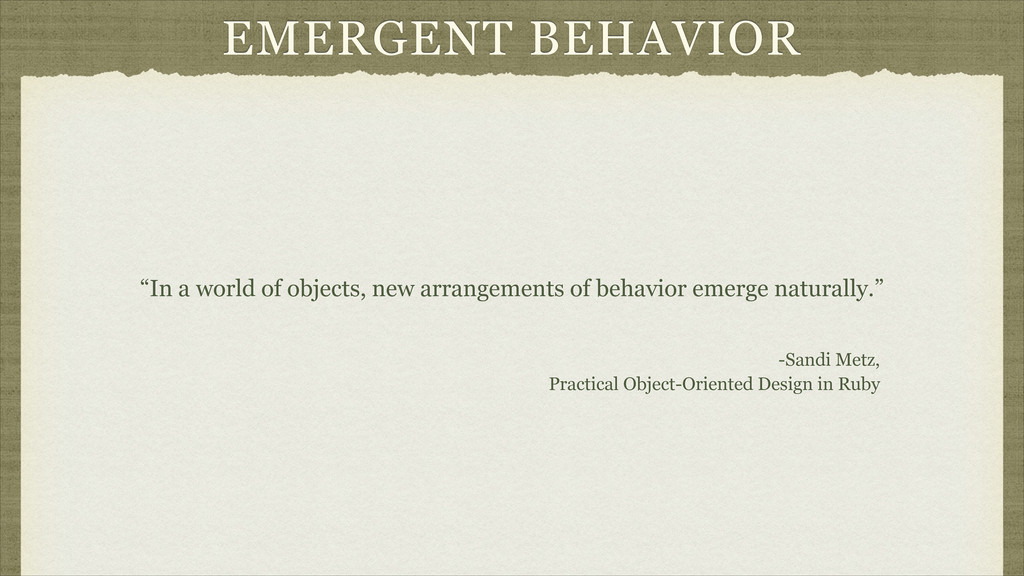 "EMERGENT BEHAVIOR ""In a world of objects, new a..."