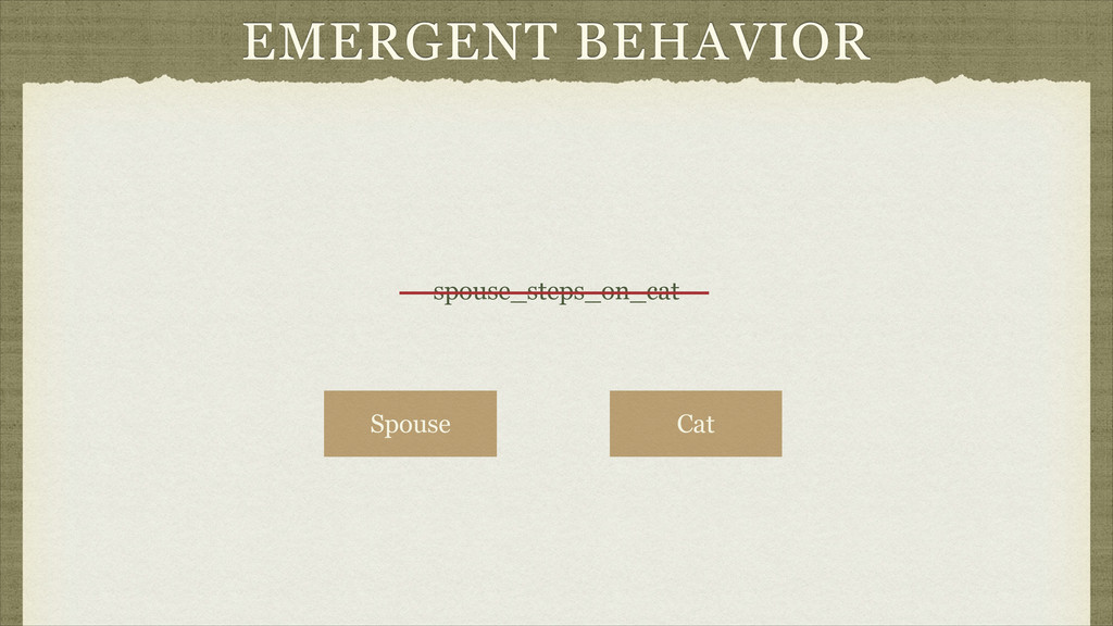 EMERGENT BEHAVIOR spouse_steps_on_cat Spouse Cat