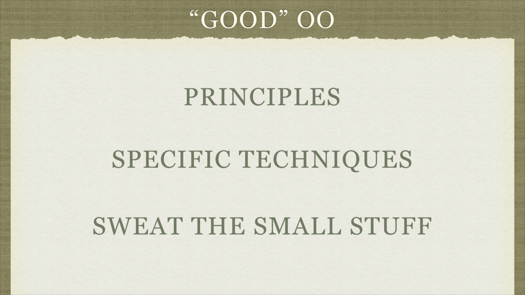 """GOOD"" OO SWEAT THE SMALL STUFF SPECIFIC TECHNI..."