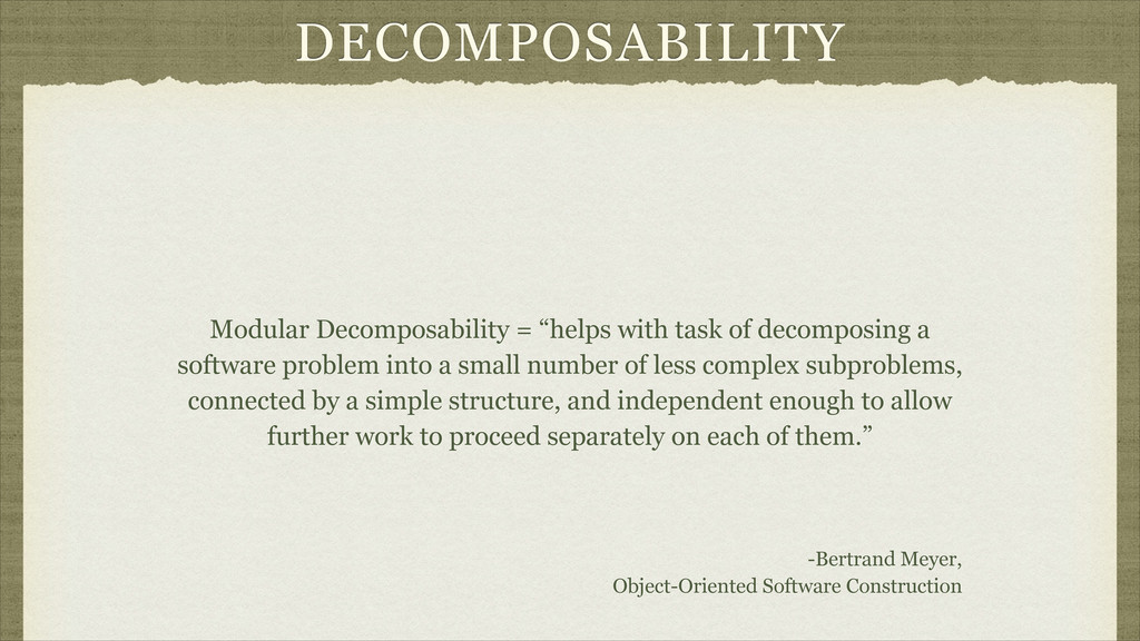 "DECOMPOSABILITY Modular Decomposability = ""help..."