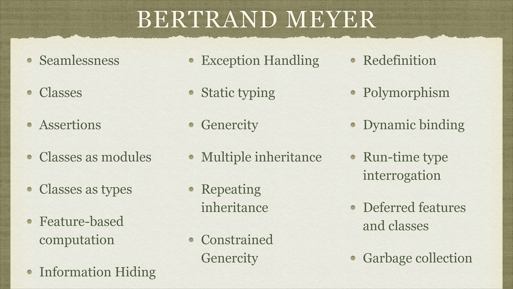 BERTRAND MEYER Seamlessness Classes Assertions ...