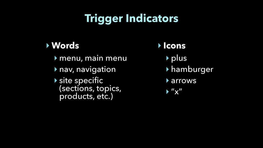 Trigger Indicators ‣ Words ‣ menu, main menu ‣ ...