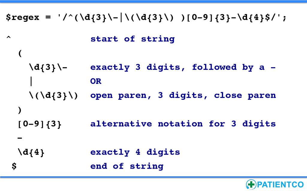 $regex = '/^(\d{3}\-|\(\d{3}\) )[0-9]{3}-\d{4}$...