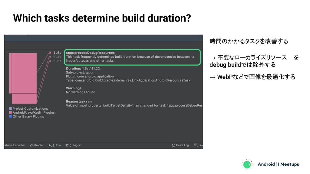 Which tasks determine build duration? 時間のかかるタスク...