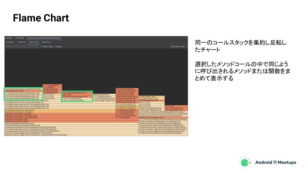Flame Chart 同一のコールスタックを集約し反転し たチャート 選択したメソッドコール...