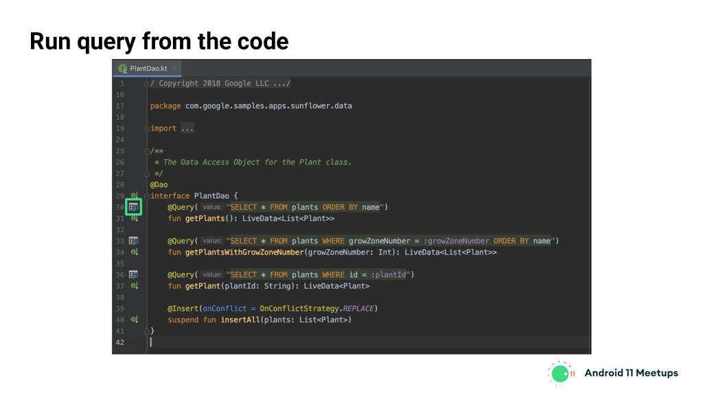 Run query from the code