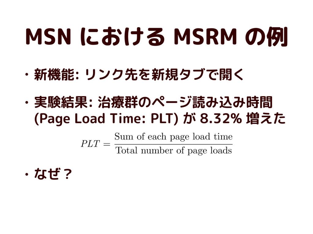 MSN における MSRM の例 • 新機能: リンク先を新規タブで開く • 実験結果: 治療...