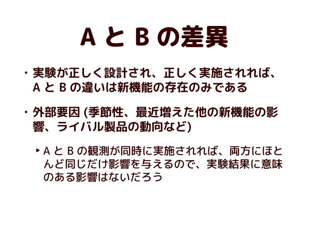 A と B の差異 • 実験が正しく設計され、正しく実施されれば、 A と B の違いは新機能...