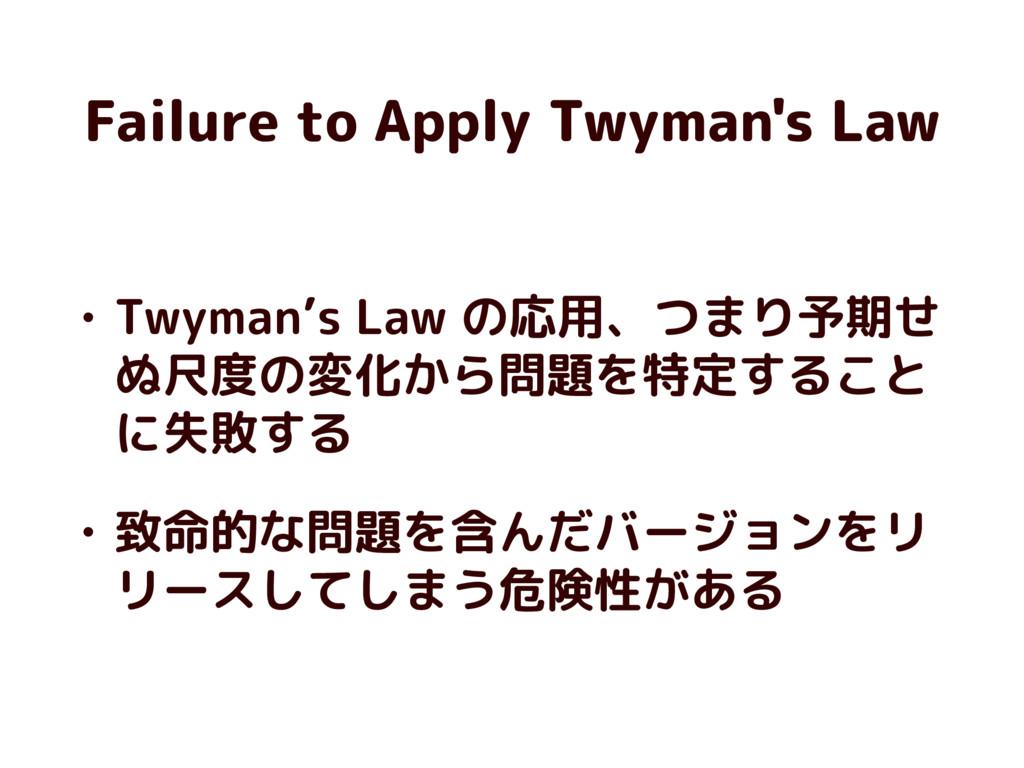 Failure to Apply Twyman's Law • Twyman's Law の応...