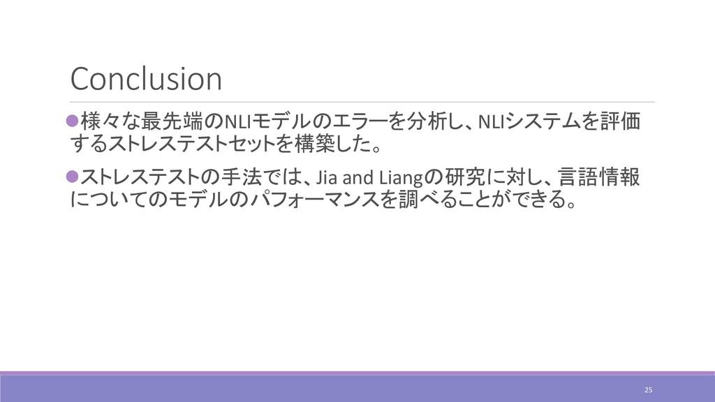 Conclusion ⚫様々な最先端のNLIモデルのエラーを分析し、NLIシステムを評価 する...