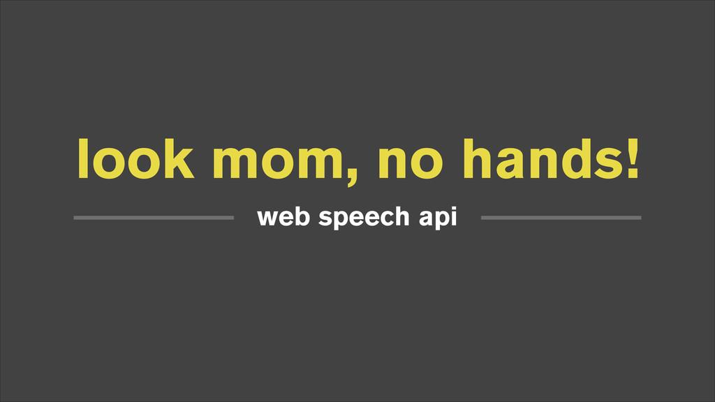look mom, no hands! web speech api