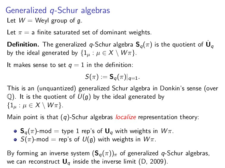Generalized q-Schur algebras Let W = Weyl group...