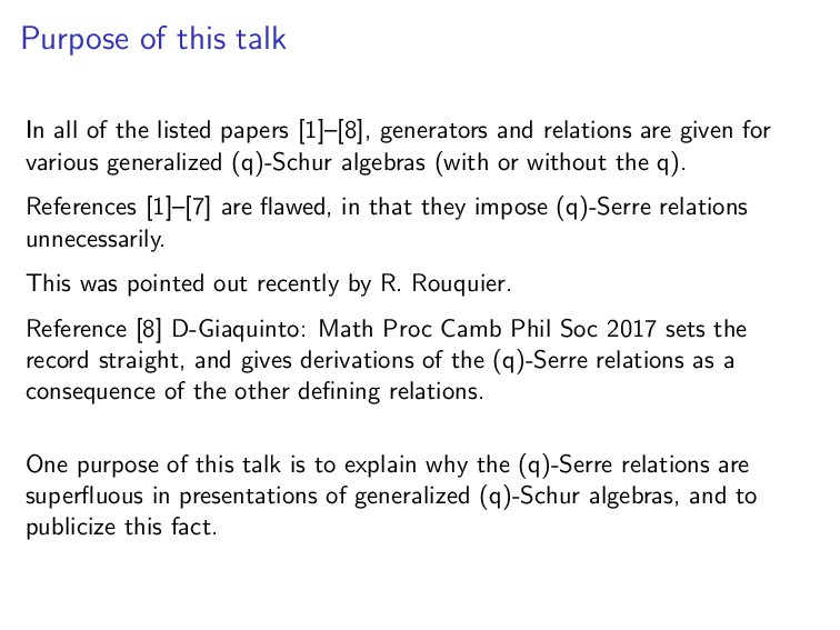 Purpose of this talk In all of the listed paper...