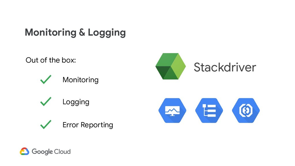 Monitoring & Logging ✓ Monitoring Out of the bo...