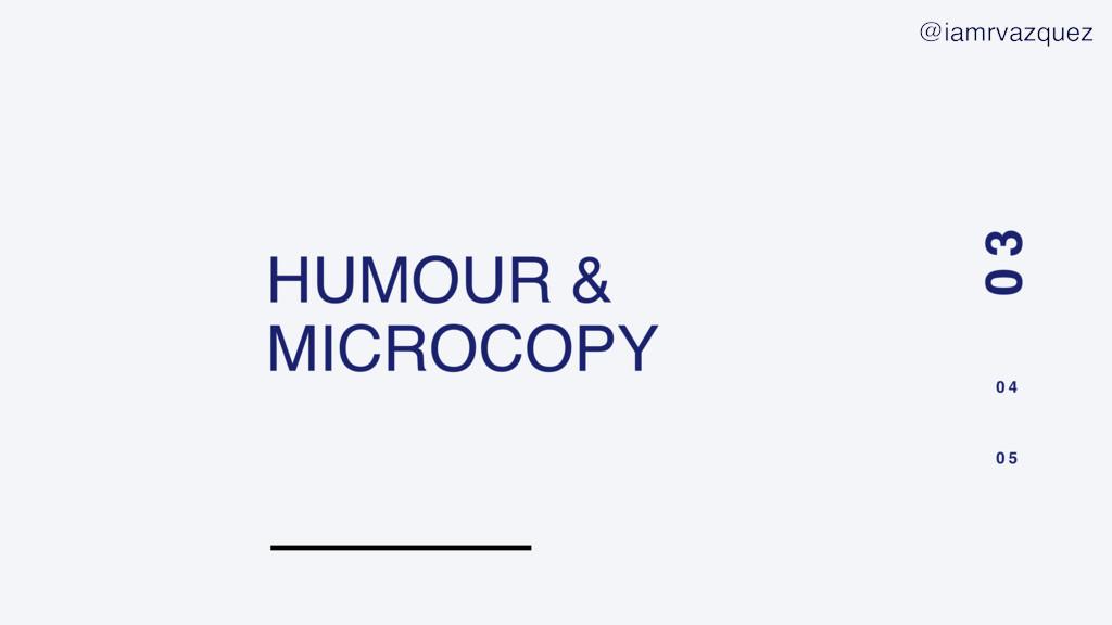 HUMOUR & MICROCOPY 0 3 0 4 0 5 @iamrvazquez
