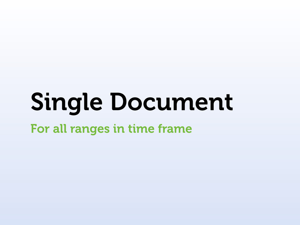 Single Document For all ranges in time frame