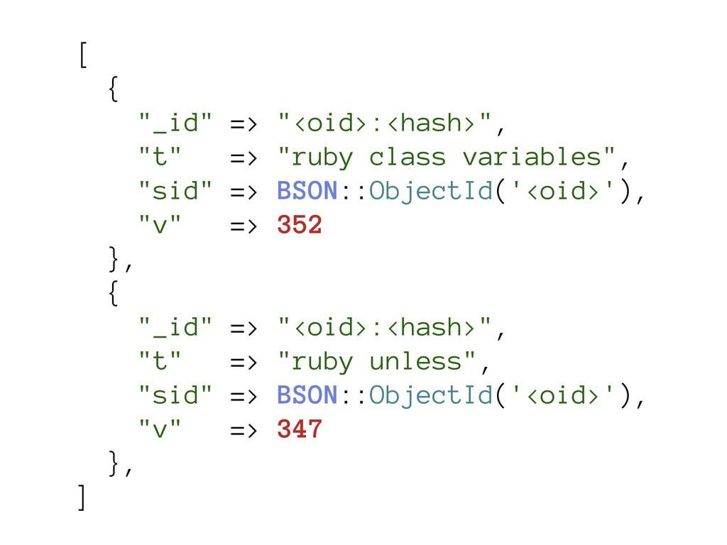 "[ { ""_id"" => ""<oid>:<hash>"", ""t"" => ""ruby class..."
