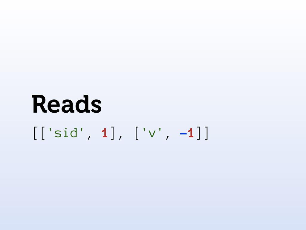 Reads [['sid', 1], ['v', -1]]