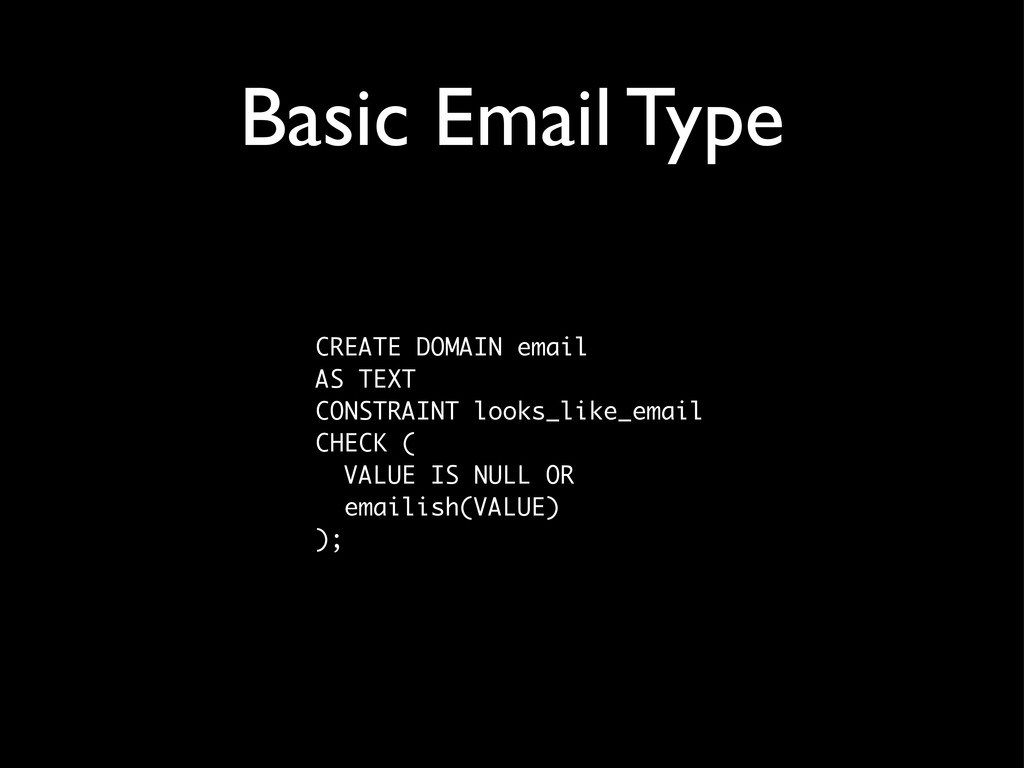 Basic Email Type CREATE DOMAIN email AS TEXT CO...