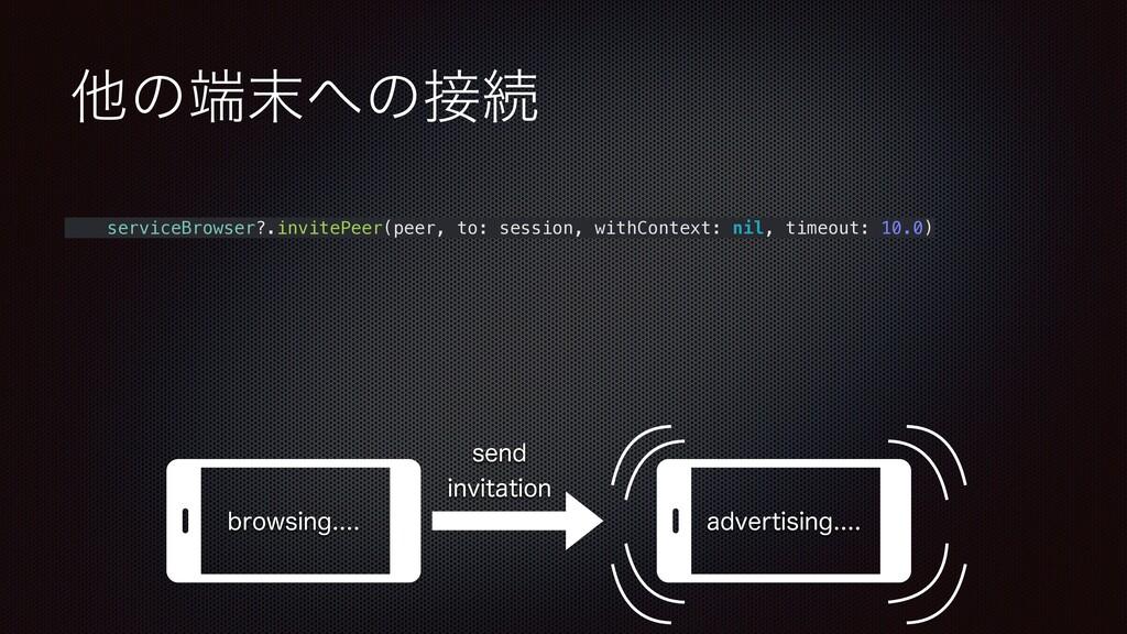 ଞͷͷଓ serviceBrowser?.invitePeer(peer, to: s...