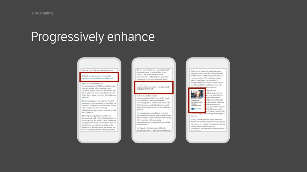 Progressively enhance 3. Designing