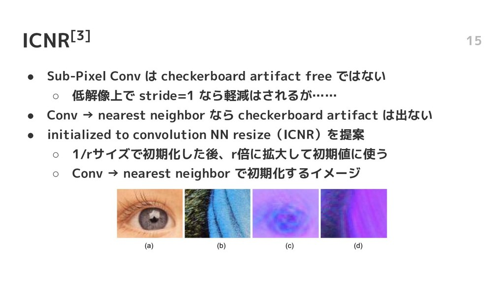 ICNR[3] ● Sub-Pixel Conv は checkerboard artifac...