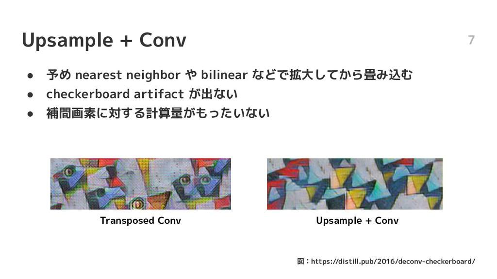 Upsample + Conv ● 予め nearest neighbor や bilinea...