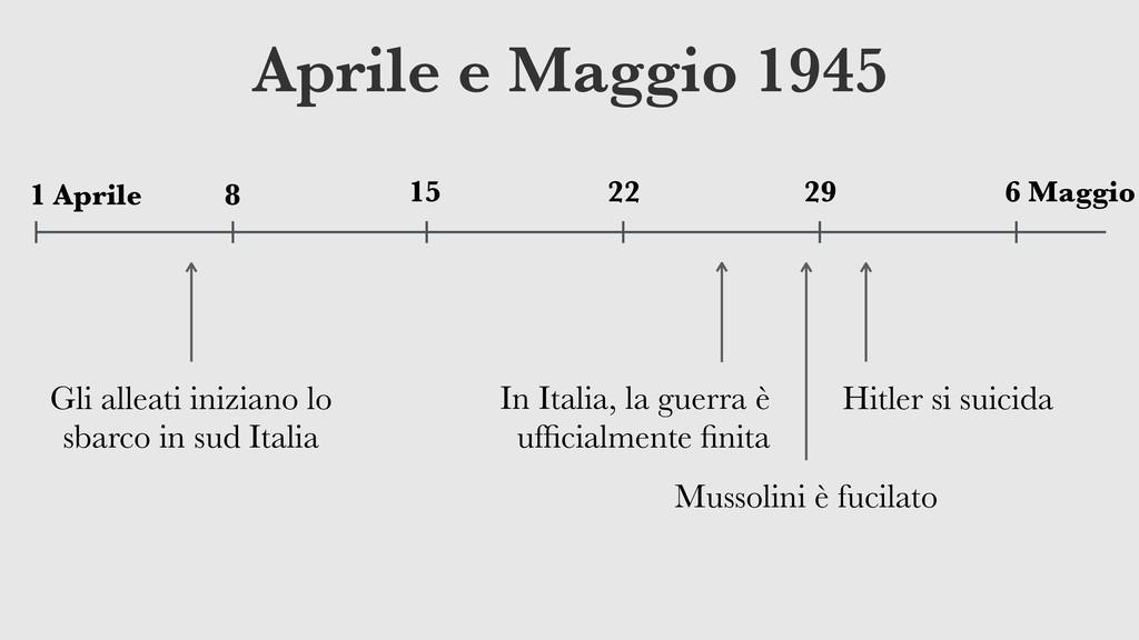 Aprile e Maggio 1945 29 22 15 8 1 Aprile 6 Magg...