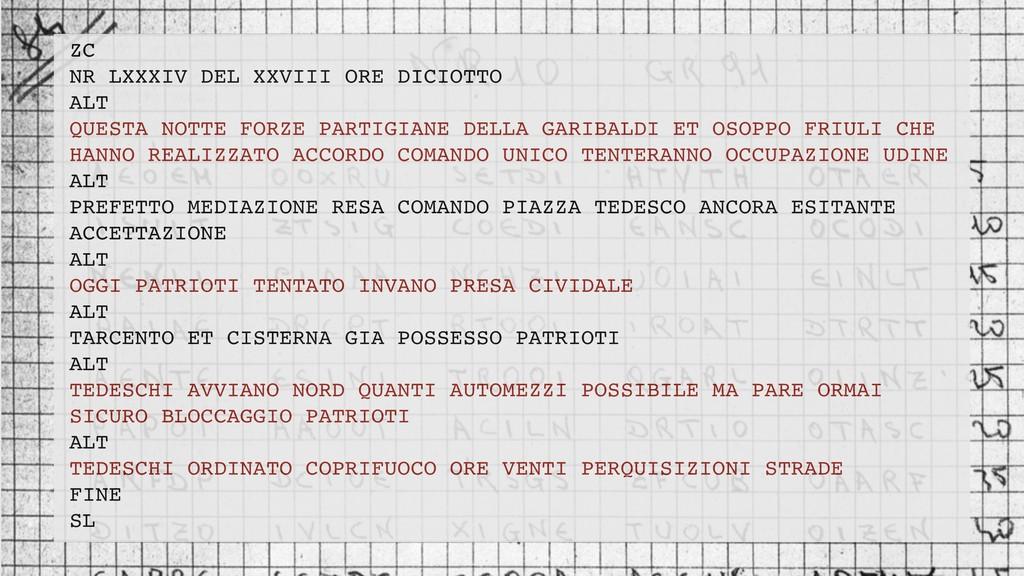 ZC NR LXXXIV DEL XXVIII ORE DICIOTTO ALT QUESTA...