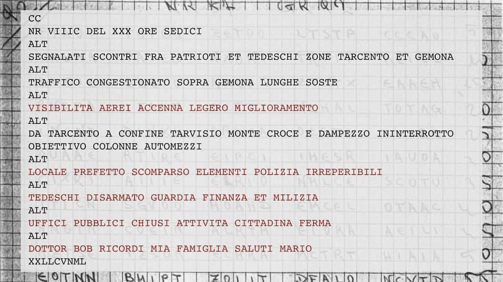 CC NR VIIIC DEL XXX ORE SEDICI ALT SEGNALATI SC...